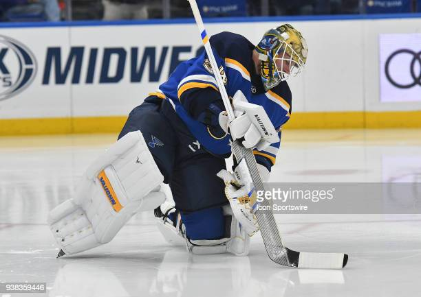 St Louis Blues goalie Jake Allen warms up before a NHL game between the Vancouver Canucks and the St Louis Blues on March 23 at Scottrade Center St...