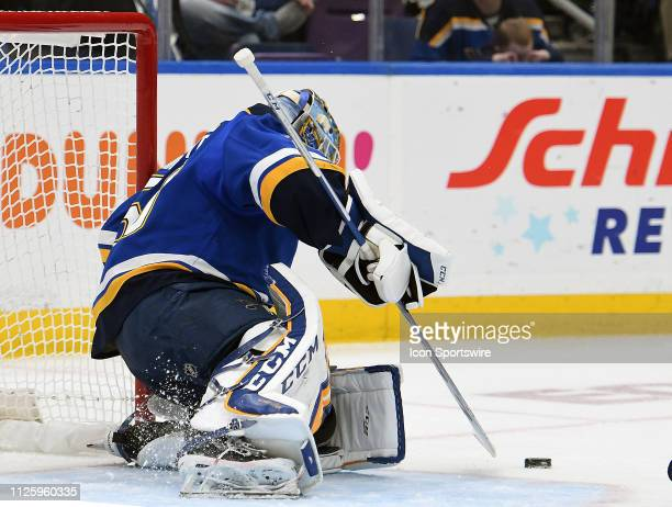 St Louis Blues goalie Jordan Binnington blocks a shot during an NHL game between the Toronto Maple Leafs and the St Louis Blues on February 19 at...