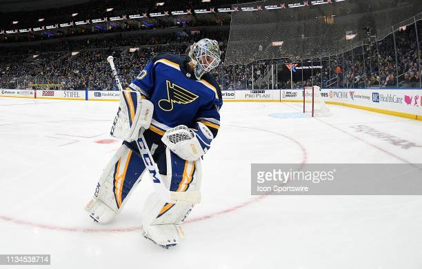 St Louis Blues goalie Jordan Binnington skates away from the goal during a timeout during a NHL game between the Colorado Avalanche and the St Louis...