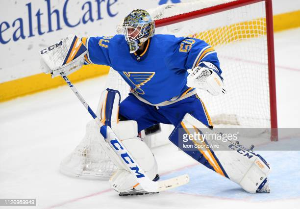 St Louis Blues goalie Jordan Binnington watches the puck during a NHL game between the Boston Bruins and the St Louis Blues on February 23 at...