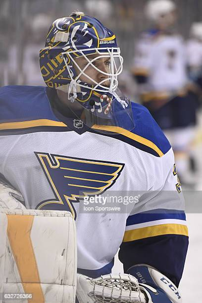 St Louis Blues Goalie Pheonix Copley on the ice for the pregame warmup before the NHL game between the Pittsburgh Penguins and the St Louis Blues on...