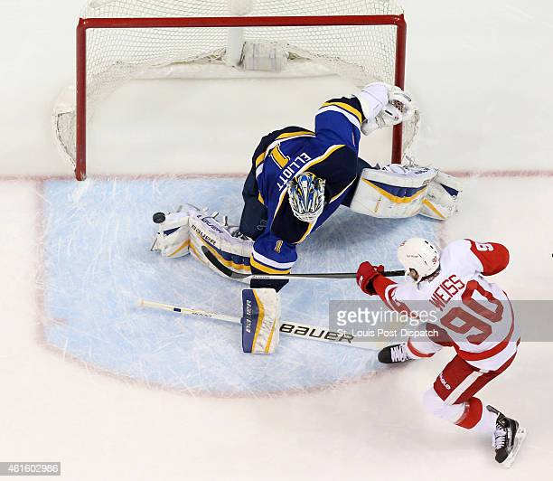 St Louis Blues goaltender Brian Elliott defends against a pointblank shot by the Detroit Red Wings' Stephen Weiss in the first period on Thursday Jan...