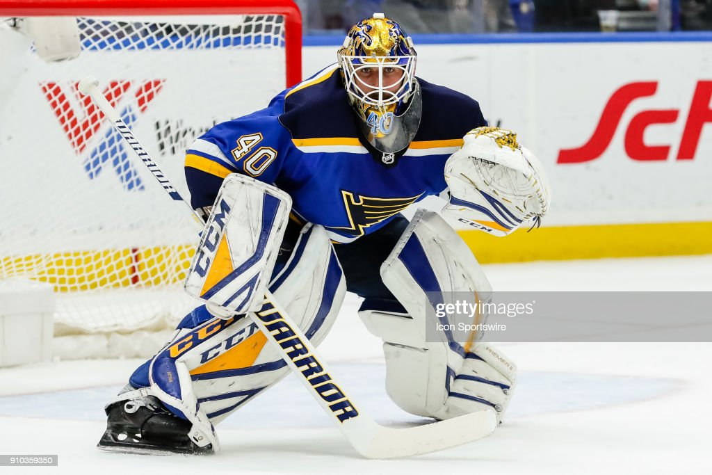 St. Louis Blues goaltender Carter Hutton (40) gets set to for a shot on goal during the second period of an NHL hockey game between the St. Louis Blues and the Colorado Avalanche on January 25, 2017, at Scottrade Center in St. Louis, MO.