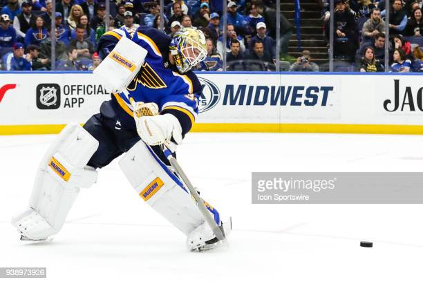 St Louis Blues goaltender Jake Allen comes out of the net to clear the puck during the overtime period of an NHL hockey game The St Louis Blues...