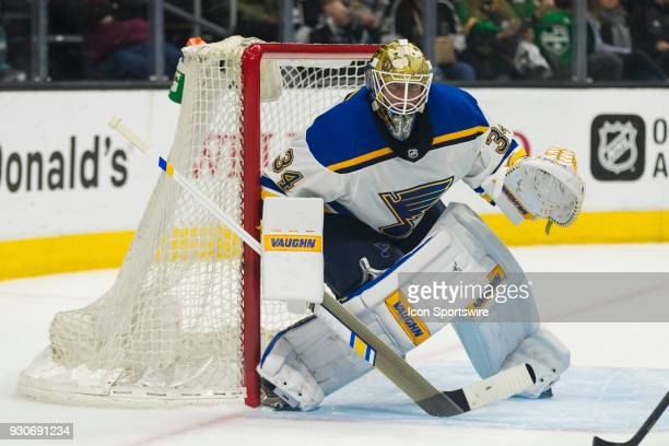 St Louis Blues goaltender Jake Allen during the NHL regular season game against the Los Angeles Kings on March 10 at Staples Center in Los Angeles CA