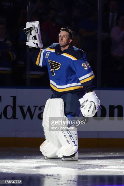 St Louis Blues goaltender Jake Allen skates onto the ice for player introductions before the first period of an NHL hockey game between the St Louis...