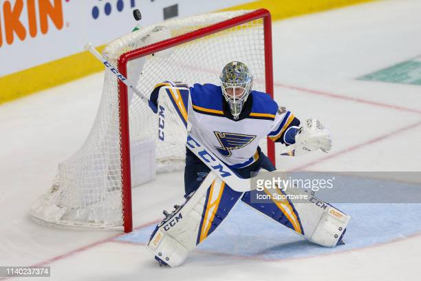St Louis Blues goaltender Jordan Binnington fights off a shot during the game between the St Louis Blues and the Dallas Stars on April 29 2019 at...