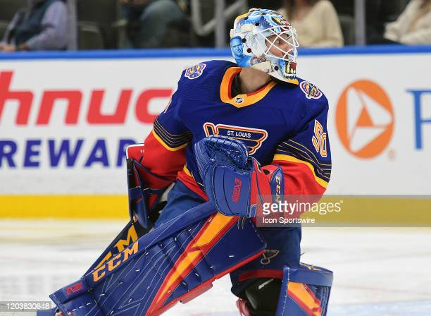 St Louis Blues goaltender Jordan Binnington watches the puck in the second period during an NHL game between the New York Islanders and the St Louis...
