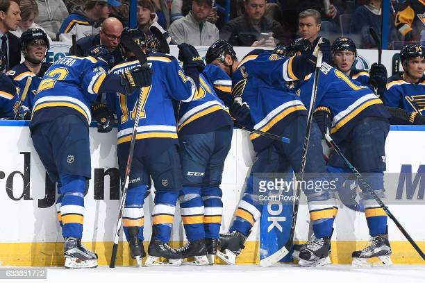 St Louis Blues head coach Mike Yeo calls a timeout during the game against the Pittsburgh Penguins on February 4 2017 in St Louis Missouri