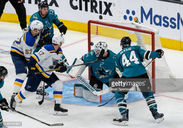 St Louis Blues left wing Jaden Schwartz tips the passed puck over San Jose Sharks goaltender Martin Jones for a score during the 5th game of the...