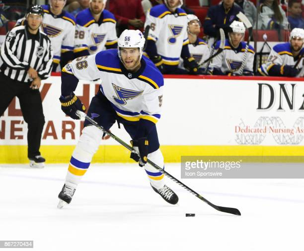 St Louis Blues Left Wing Magnus Paajarvi during the 2nd period of the Carolina Hurricanes game versus the St Louis Blues on October 27 at PNC Arena...