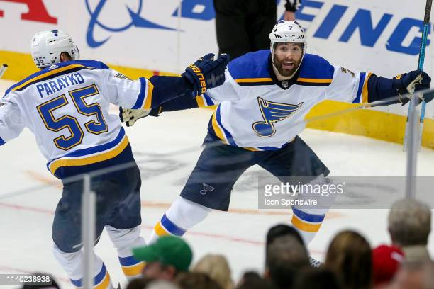 St Louis Blues left wing Pat Maroon celebrates his game winning goal with defenseman Colton Parayko during the game between the St Louis Blues and...