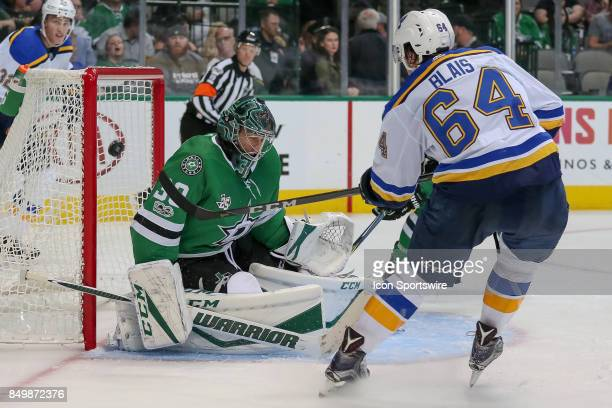 St Louis Blues left wing Samuel Blais scores a goal against Dallas Stars goalie Ben Bishop during the NHL game between the St Louis Blues and Dallas...