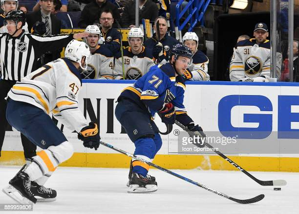 St Louis Blues left wing Vladimir Sobotka controls the puck during a NHL game between the Buffalo Sabres and the St Louis Blues on December 10 at...