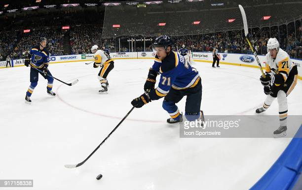 St Louis Blues left wing Vladimir Sobotka goes after the puck during a NHL game between the Pittsburgh Penguins and the St Louis Blues on February 11...