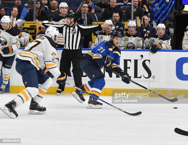 St Louis Blues left wing Vladimir Sobotka skates with the puck during a NHL game between the Buffalo Sabres and the St Louis Blues on December 10 at...