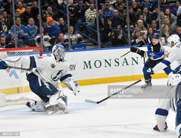 St Louis Blues left wing Vladimir Sobotka takes a shot on goal during a NHL game between the Tampa Bay Lightning and the St Louis Blues on December...