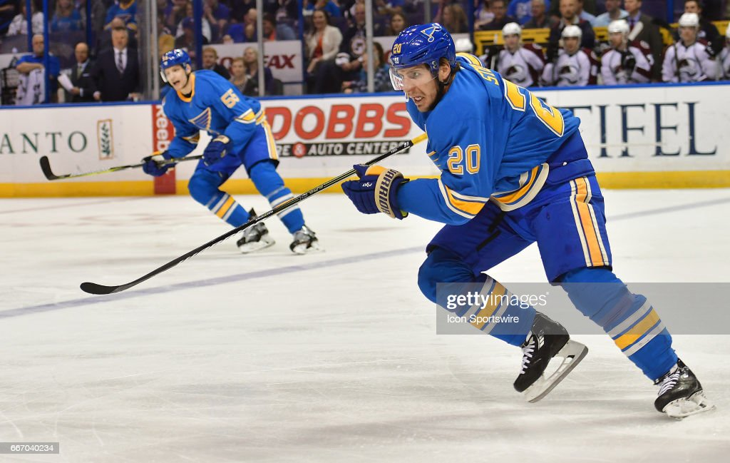 St. Louis Blues leftwing Alexander Steen (20) during an NHL game between the Colorado Avalanche and the St. Louis Blues on April 09, 2017, at the Scottrade Center in St. Louis, MO. The Blues won, 3-2.