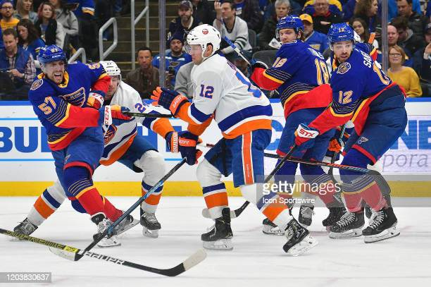 St Louis Blues leftwing David Perron takes a shot on goal during an NHL game between the New York Islanders and the St Louis Blues on February 27 at...