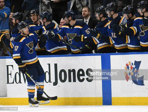 St Louis Blues leftwing Jaden Schwartz is congratulated after scoring in the first period during an NHL game between the Edmonton Oilers and the St...
