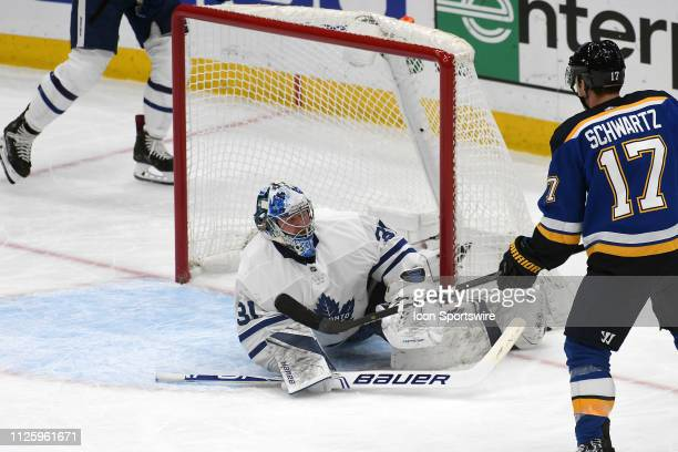 St Louis Blues leftwing Jaden Schwartz scores in the first period during an NHL game between the Toronto Maple Leafs and the St Louis Blues on...