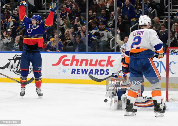 St Louis Blues leftwing Zach Sanford celebrates after the Blues tie the game during an NHL game between the New York Islanders and the St Louis Blues...
