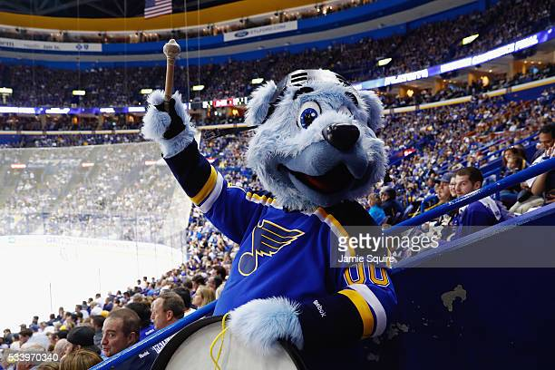 St Louis Blues mascot Louie performs during the first period of Game Five of the Western Conference Final between the San Jose Sharks and the St...