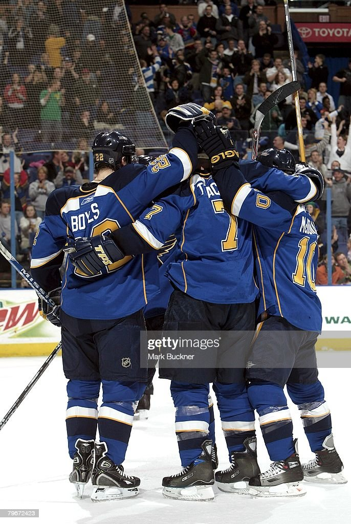 St Louis Blues Players Celebrate A Goal Against The Tampa Bay Lightning On February 5