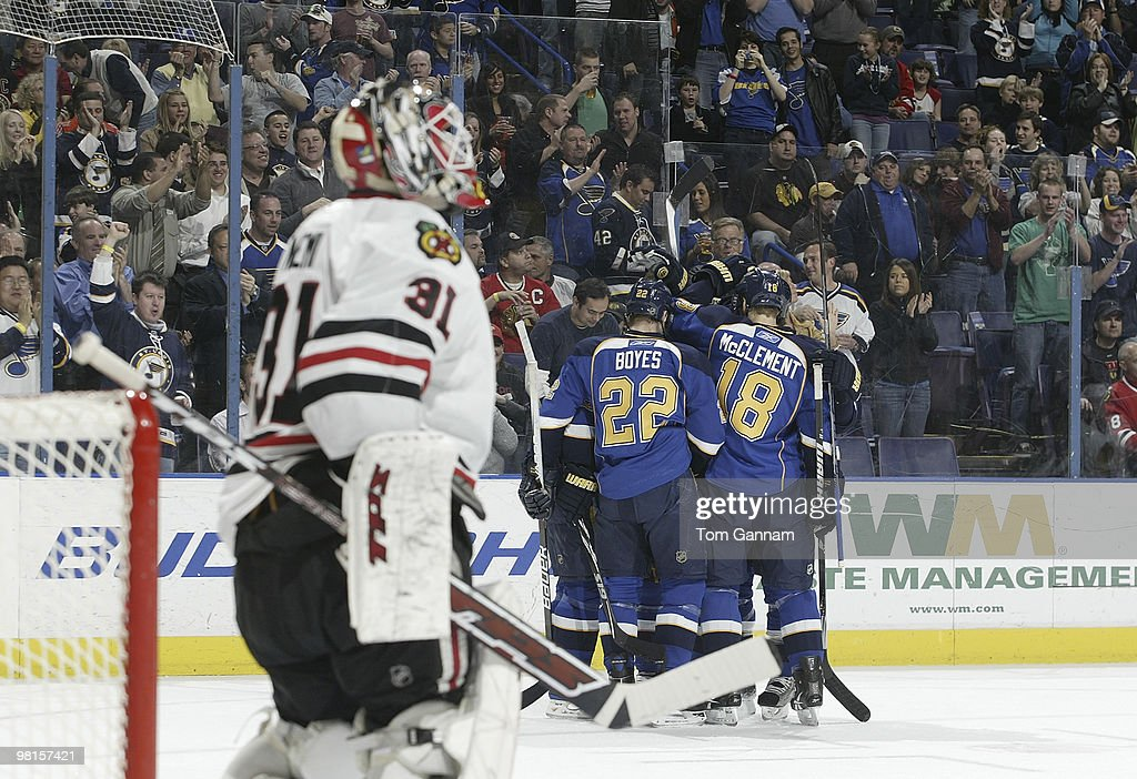 St Louis Blues Players Celebrate A Goal By Alexander Steen 20 During Game