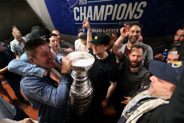 MO: St. Louis Blues Players Celebrate with Bud Light at the Anheuser-Busch Brewery