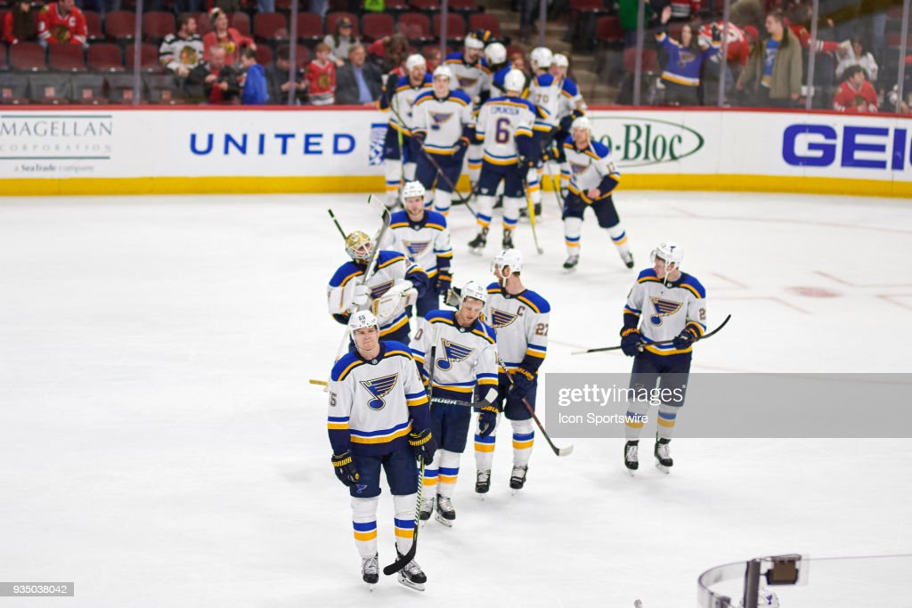 St Louis Blues Players Skate Off The Ice After Celebrating A Win In Overtime Against