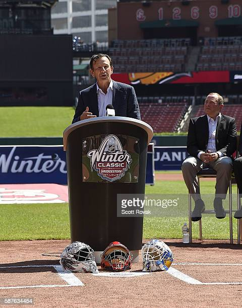 St Louis Blues President and CEO of Business Operations Chris Zimmerman addresses the media during the National Hockey League 2017 Bridgestone NHL...