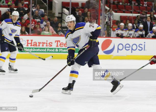 St Louis Blues Right Wing Beau Bennett during the 1st period of the Carolina Hurricanes game versus the St Louis Blues on October 27 at PNC Arena in...