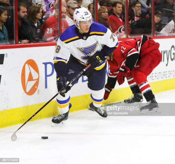 St Louis Blues Right Wing Beau Bennett during the 2nd period of the Carolina Hurricanes game versus the St Louis Blues on October 27 at PNC Arena in...