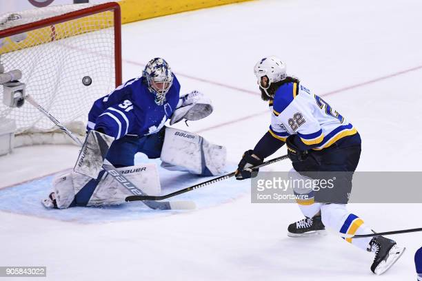 St Louis Blues Right Wing Chris Thorburn shoots on Toronto Maple Leafs Goalie Frederik Andersen during the regular season NHL game between the St...