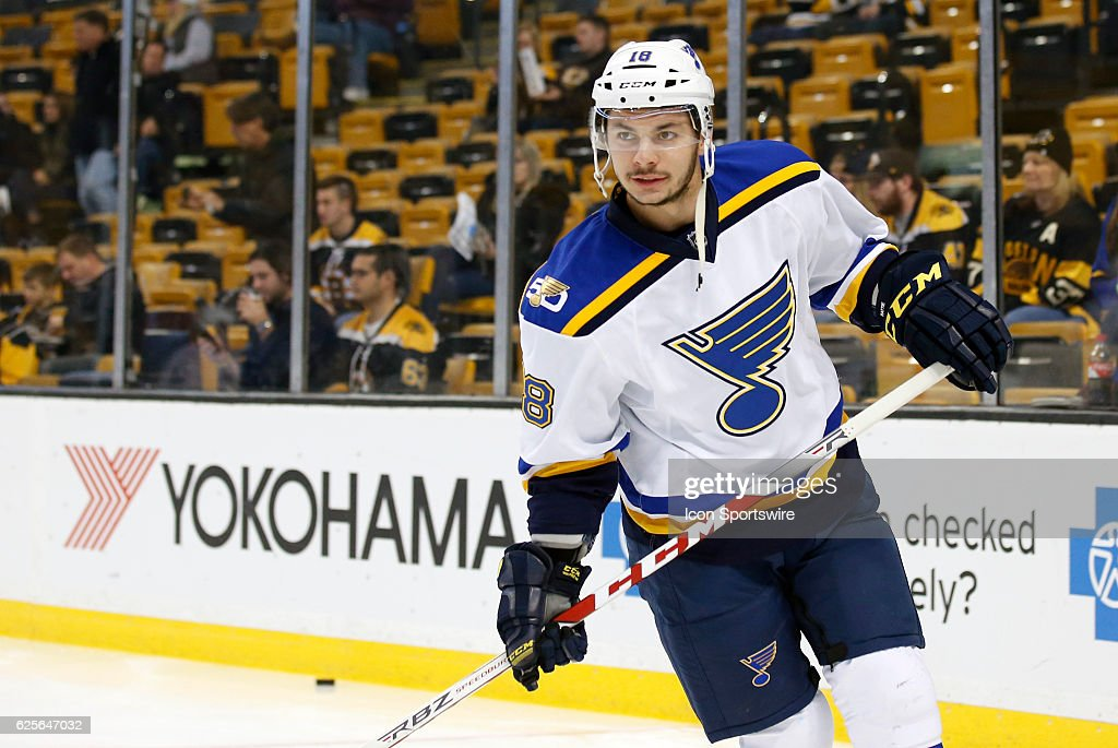 St. Louis Blues right wing Ty Rattie (18) skates during warm up before a regular season NHL game between the Boston Bruins and the St. Louis Blues on November 22, 2016, at TD Garden in Boston, Massachusetts. The Blues defeated the Bruins 4-2.