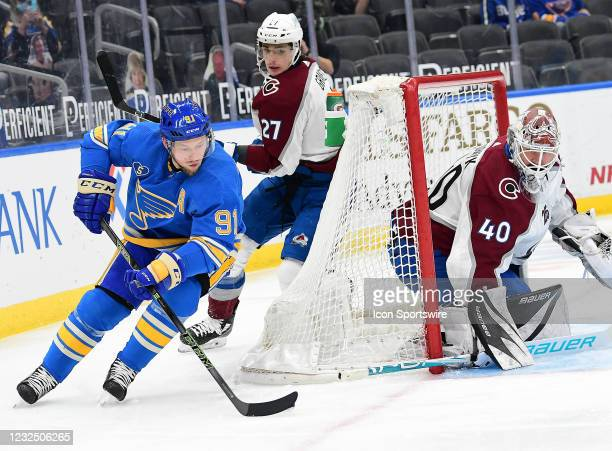 St. Louis Blues right wing Vladimir Tarasenko a wrap around goal attempt in the first period during a NHL game between the Colorado Avalanche and the...