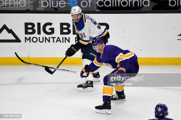 St. Louis Blues Right Wing Vladimir Tarasenko and Los Angeles Kings Defenceman Olli Maatta watch play during a National Hockey League game at the...