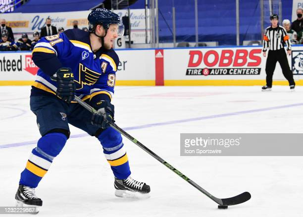 St. Louis Blues right wing Vladimir Tarasenko during an NHL game between the Minnesota Wild and the St. Louis Blues on April 09 at Enterprise Center,...