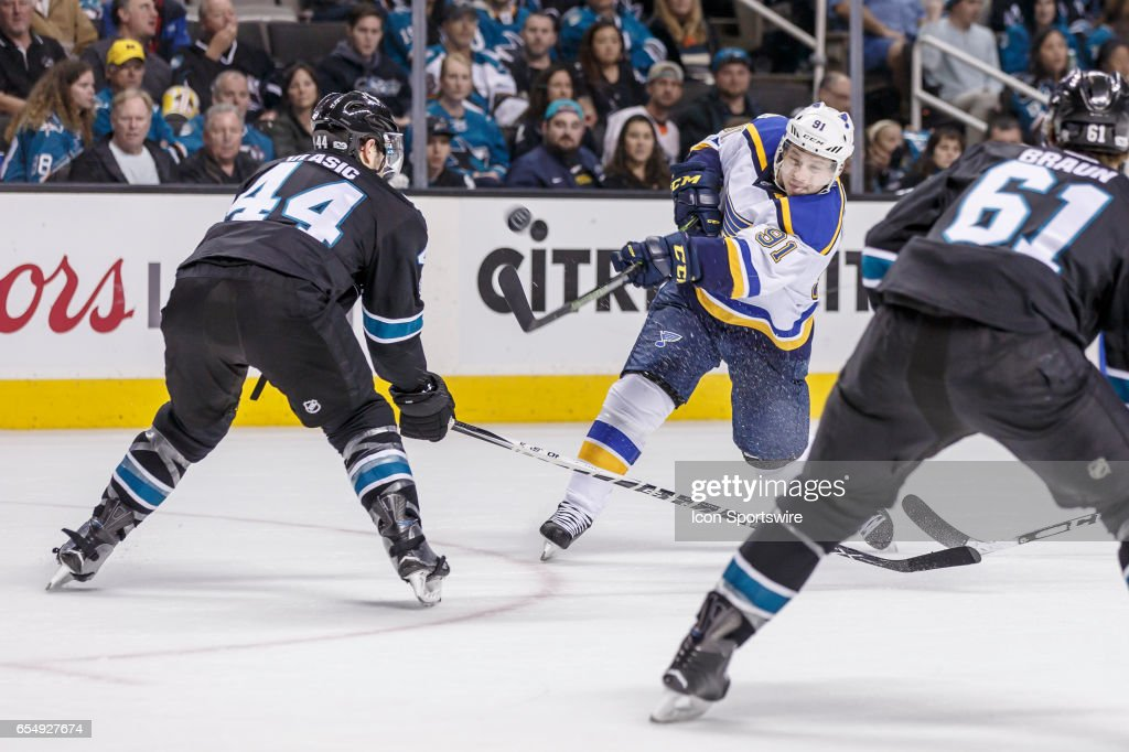 St. Louis Blues right wing Vladimir Tarasenko (91) has the puck go sky high from a deflection off San Jose Sharks defenseman Marc-Edouard Vlasic (44)'s stick during the second period of the regular season game between the San Jose Sharks and the St. Louis Blues at the SAP Center in San Jose on March 16, 2016. Final score: Blues-4, Sharks-1.