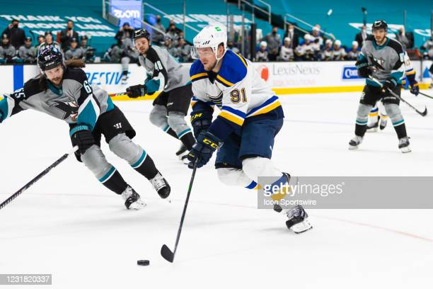 St. Louis Blues Right Wing Vladimir Tarasenko heads for the goal during the NHL hockey game between the St. Louis Blues and San Jose Sharks on March...