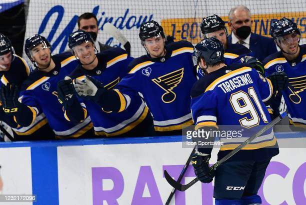 St. Louis Blues right wing Vladimir Tarasenko is congratulated by teammates after scoring in the first period during an NHL game between the Vegas...