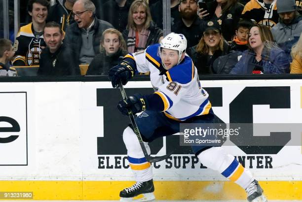 St Louis Blues right wing Vladimir Tarasenko plays a pass during a game between the Boston Bruins and the St Louis Blues on February 1 at TD Garden...