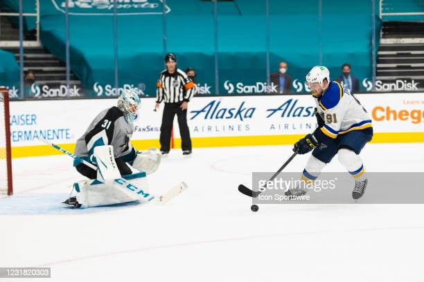 St. Louis Blues Right Wing Vladimir Tarasenko scores a goal in the shootout during the NHL hockey game between the St. Louis Blues and San Jose...