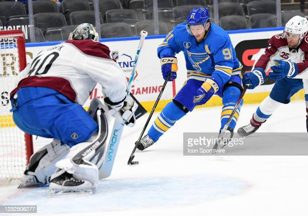 St. Louis Blues right wing Vladimir Tarasenko sets up a shot on goal in the first period during a NHL game between the Colorado Avalanche and the St....