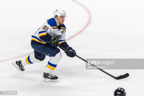 St. Louis Blues Right Wing Vladimir Tarasenko skates with the puck during the NHL hockey game between the St. Louis Blues and San Jose Sharks on...