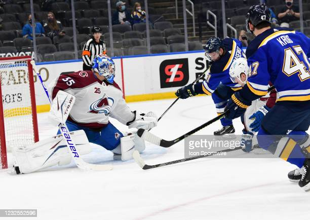 St. Louis Blues right wing Vladimir Tarasenko takes a shot on goal during a NHL game between the Colorado Avalanche and the St. Louis Blues on April...