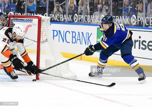 St. Louis Blues right wing Vladimir Tarasenko tries to get the puck inside the goaltender's cage during a NHL game between the Anaheim Ducks and the...