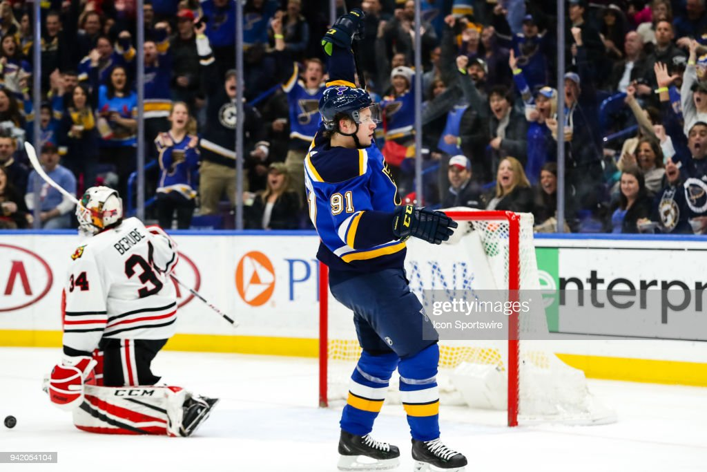 St. Louis Blues' Vladimir Tarasenko, right, celebrates scoring a goal in front of Chicago Blackhawks goaltender J-F Berube (34) during the second period of an NHL hockey game between the St. Louis Blues and the Chicago Blackhawks on April 4, 2018, at Scottrade Center in St. Louis, MO.
