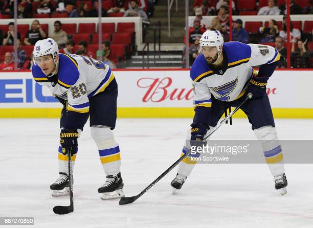 St Louis Blues Winger Alexander Steen and St Louis Blues Defenceman Robert Bortuzzo during the Carolina Hurricanes game versus the St Louis Blues on...